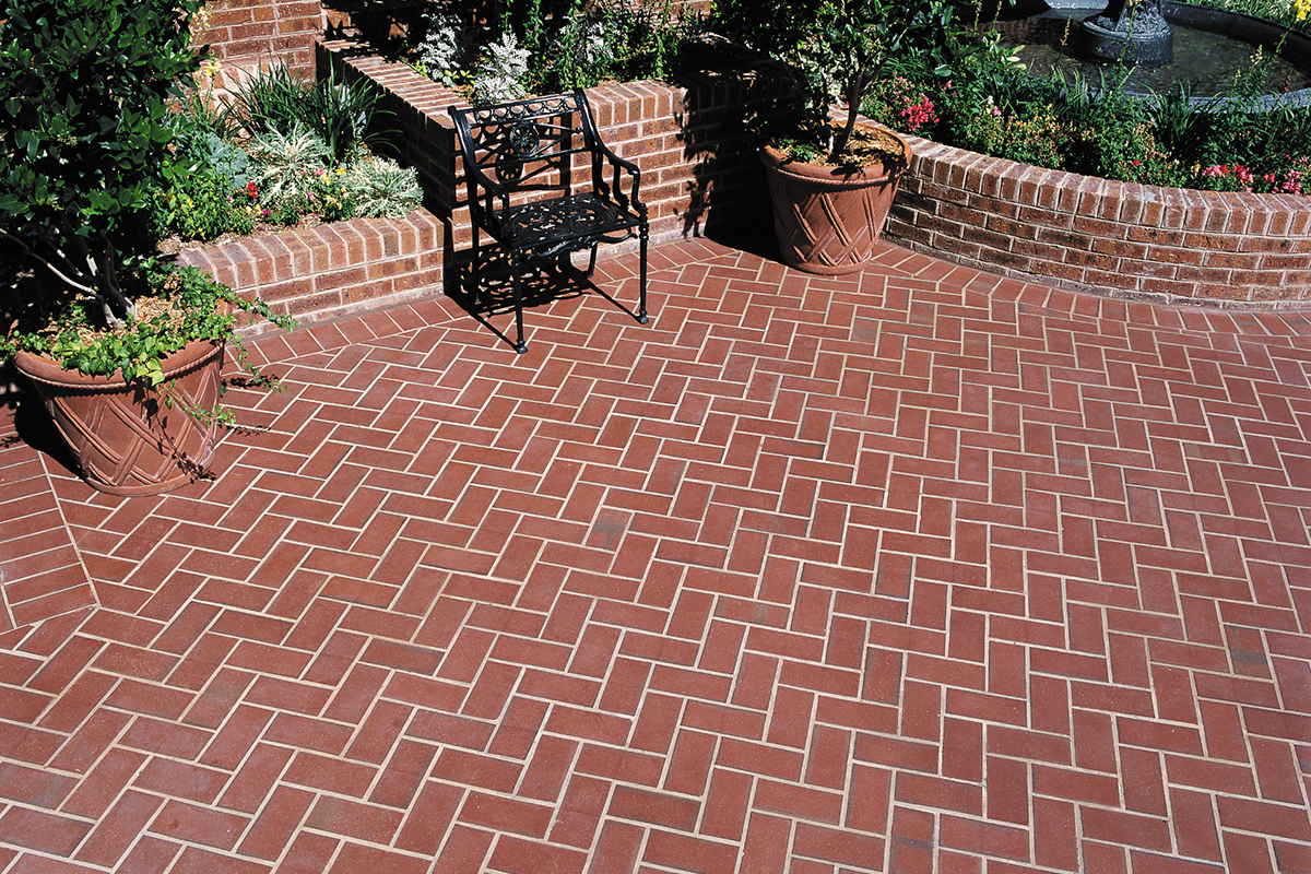 Thin Brick Pavers Herringbone Pattern By Marion Ceramics